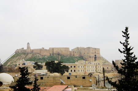 Syria: Rooftops of Aleppo City with Citadel - Syria