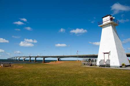 confederation: Wooden Lighthouse in Marine Rail Park - Prince Edward Island - Canada Stock Photo