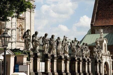 saints peter and paul: Statues of Saints Peter and Paul Church - Krakow - Poland Stock Photo