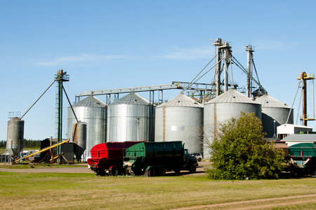 Farm Silos - Prince Edward Island - Canada Stock Photo