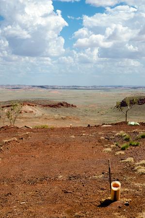 Drilling Field for Iron Ore Exploration - Pilbara - Australia Stock Photo