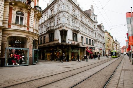 GRAZ, AUSTRIA - February 19, 2013: City life on Herrengasse street in the second largest city of Austria