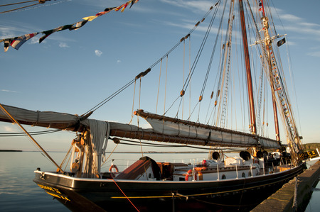 LOUISBOURG, CANADA - August 13, 2016: Bluenose II is a replica of the famous fishing schooner Bluenose. Its docked in Louisbourg as part of its summer sailing schedule to visit 5 Cape Breton ports. Editorial