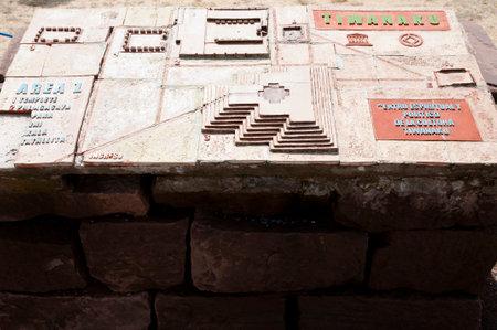 Outside Plan Map of Tiwanaku Ruins (translated: Spiritual & Political Center) - Bolivia