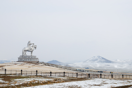 Genghis Khan Equestrian Statue - Mongolia Stock Photo
