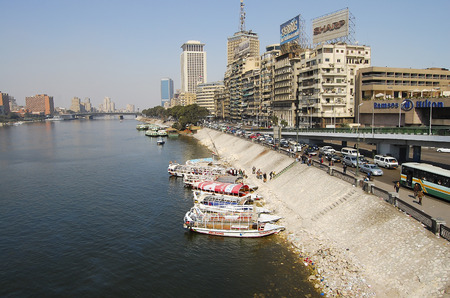 CAIRO, EGYPT - FEBRUARY 7, 2010:  Banks of the widely used for transport Nile River in Cairo