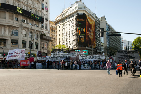 BUENOS AIRES, ARGENTINA - December 15, 2016: Protest of the working class in the capital city near Plaza de la Republica
