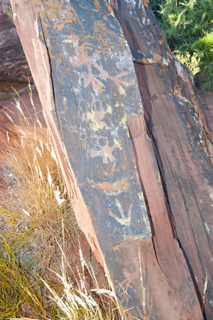 Ancient Petroglyphs - Talampaya National Park - Argentina Stock Photo