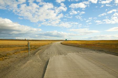 tierra del fuego: Gravel Road - Tierra Del Fuego - Chile Stock Photo
