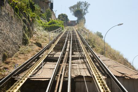 Funicular Rails - Valparaiso - Chile