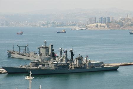 bandera chilena: Military Navy Ship - Valparaiso - Chile