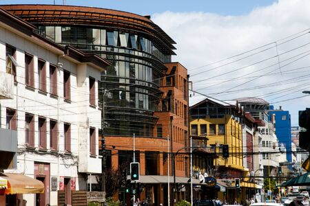 PUERTO MONTT, CHILE - February 18, 2015: City life on Benavente street in the southern port city renown for its salmon aquaculture Editorial