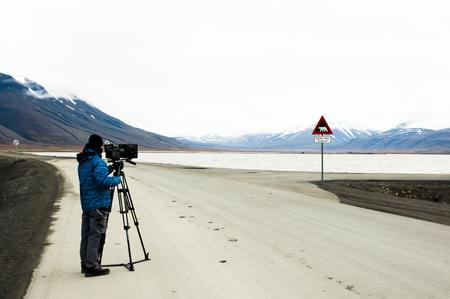 filmmaker: Cinematographer - Longyearbyen - Norway Stock Photo