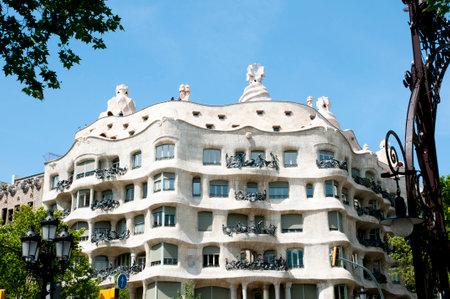 BARCELONA, SPAIN - May 24, 2016: La Pedrera (Casa Mila) is a unique modern building designed by the Catalan architect Antoni Gaudi