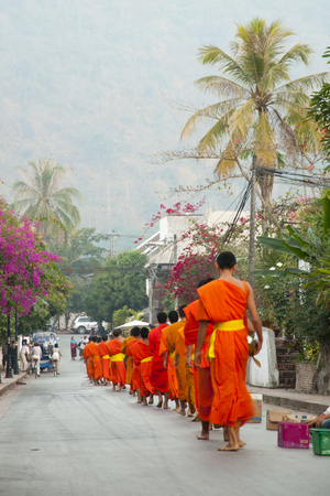 Ritual of Monks Collecting Alms - Luang Prabang - Laos