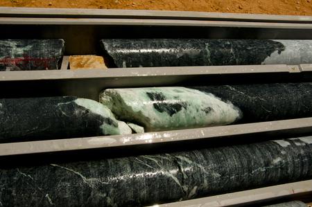 Talc Mineral in Rock Core Stock Photo