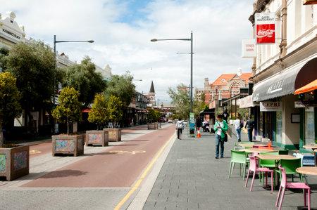 FREMANTLE, AUSTRALIA - September 11, 2016:  Commercial buildings on South Terrace street merging onto Market Street