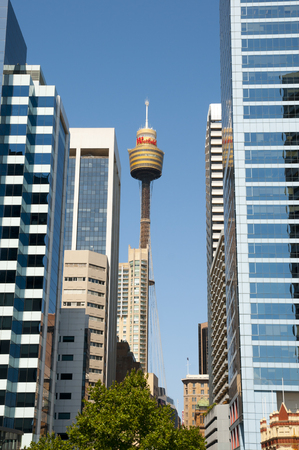 SYDNEY, AUSTRALIA - December 12, 2016: City buildings & Sydney Tower being the second tallest observation tower in the Southern Hemisphere Editorial