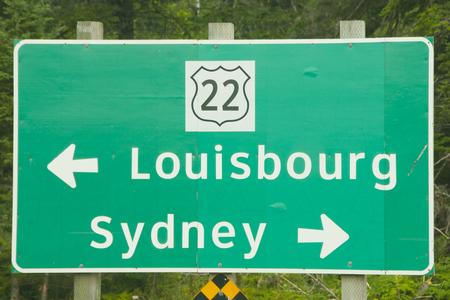 시드니 & 루이스 버그 도로 표지판-노바 스코샤-캐나다
