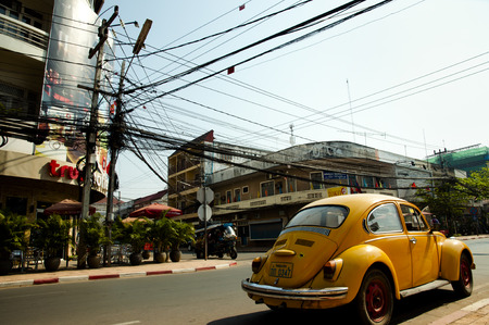 VIENTIANE, LAOS - February 19, 2011: Classic Beetle vehicle in the Laos capital city