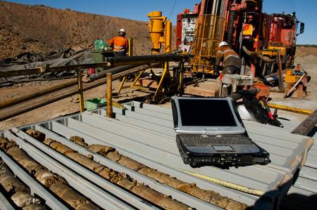Geology Core Logging on Laptop Stok Fotoğraf