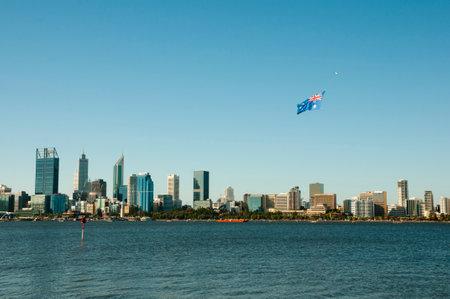 PERTH, AUSTRALIA - January 26, 2018: City skyline of Perth during national Australia Day