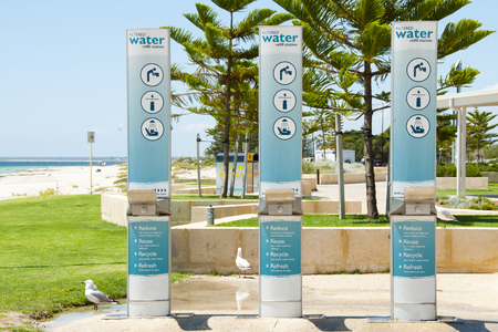 Water refill station by the beach Stock Photo