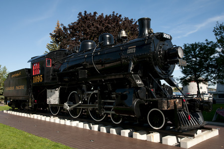 KINGSTON, CANADA - September 20, 2015: Engine 1095 in Kingston shows the citys industrial past & was built by the Canadian Locomotive Company