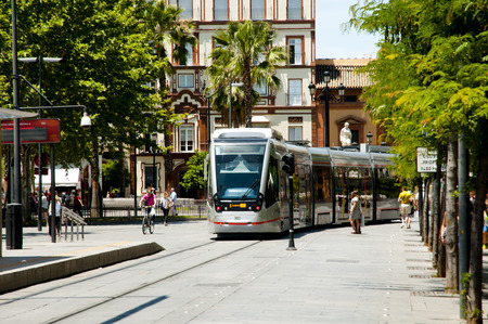 SEVILLE, SPAIN - June 1, 2016: MetroCentro is a public tram serving the centre of the city Seville Editorial