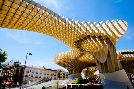 SEVILLE, SPAIN - June 1, 2016: The Metropol Parasol is a wooden structure designed by German architect Jurgen Mayer and completed in April 2011