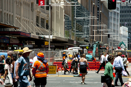 SYDNEY, AUSTRALIA - December 12, 2016: George Street undergoing improvement of surrounding laneways and one of the biggest transformations in Sydney as the light rail line is built Editorial
