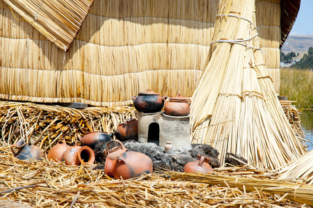 Cooking utensils at the houses in Lake Titicaca in Uros Islands, Peru