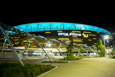 PERTH, AUSTRALIA - March 3, 2019: The Optus Stadium in Perth opened in January 2018 with a capacity of 60000 people Editöryel
