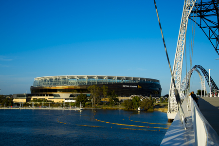 PERTH, AUSTRALIA - March 3, 2019: The Optus Stadium in Perth opened in January 2018 with a capacity of 60000 people Editorial