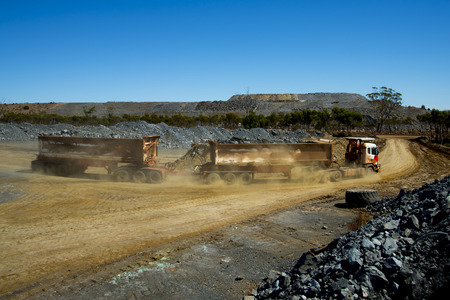Mine Ore Transport on Road Train 版權商用圖片