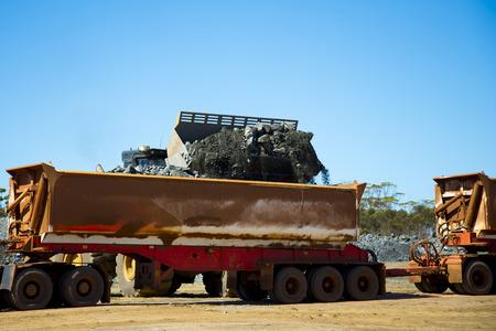 Mining Ore Loads on Road Train Stock fotó