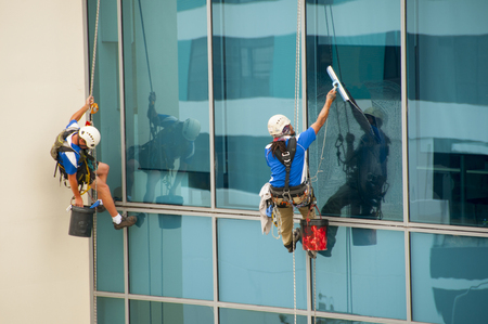 Windows Cleaning on City Building