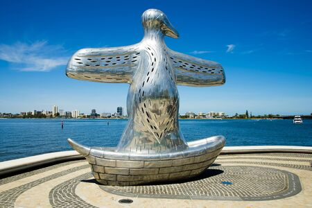 PERTH, AUSTRALIA - March 2, 2019: First Contact Sculpture is inspired by the Noongar people's first visions of European settlers 報道画像