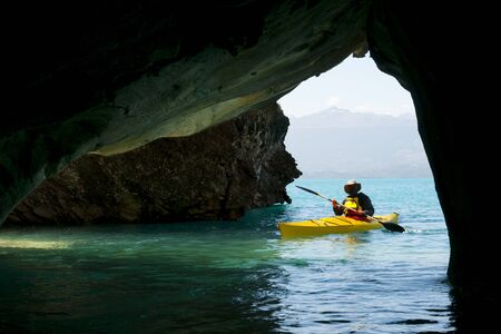 Kayaking in the Marble Caves - Chile Stock Photo - 129928342