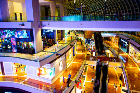 Singapore City, Singapore - April 10, 2019: The Shoppes at Marina Bay Sands is a luxury brands shopping mall