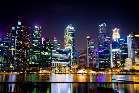 Singapore City, Singapore - April 10, 2019: Singapore city skyline in Marina Bay