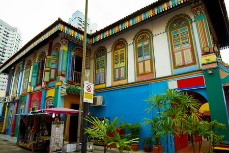 Colorful Building in Little India - Singapore Stock Photo