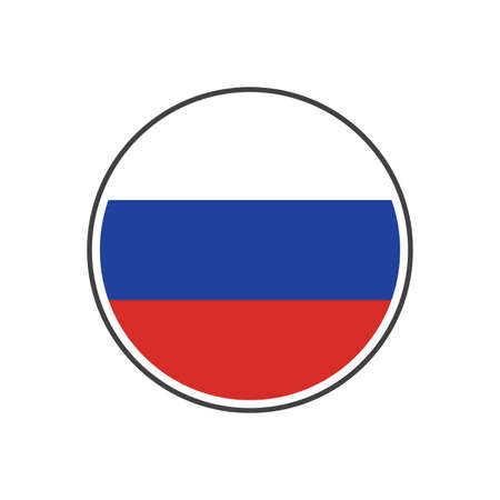 Circle russia flag with icon vector isolated on white background Ilustrace