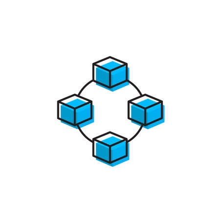 Cube network connection structure vector icon