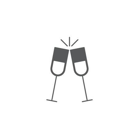 toasting glasses vector icon concept, design isolated on white background
