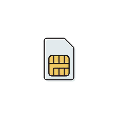 sim card vector icon concept, isolated on white background Çizim