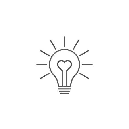 heart shape in a light bulb vector icon concept, isolated on white background Ilustração