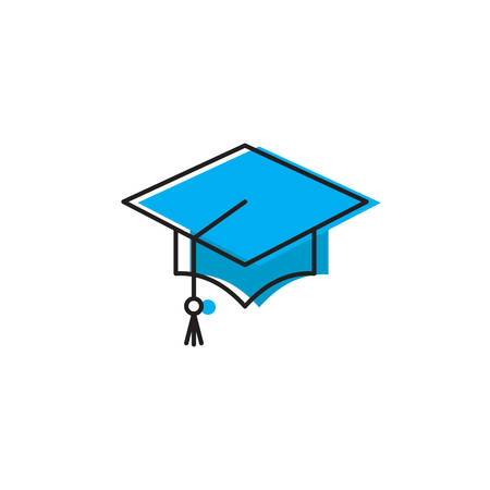 graduation cap vector icon concept, isolated on white background  イラスト・ベクター素材