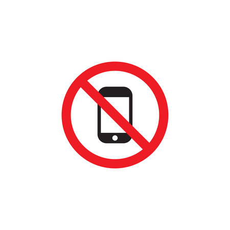no phone, no cellphone vector icon sign, isolated on white background
