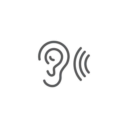 ear hearing vector icon concept, isolated on white background Ilustrace